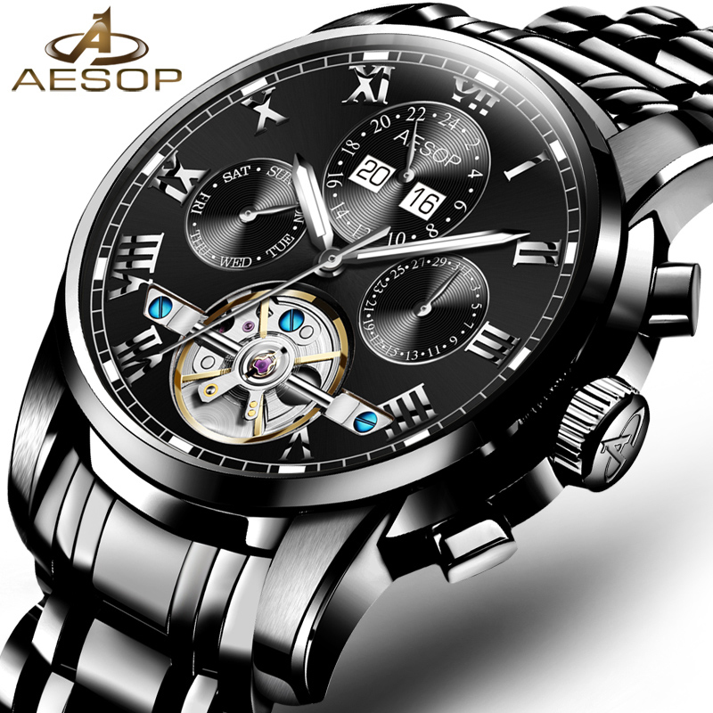 Aesop Watch Men Automatic Mechanical Wristwatch Shockproof Waterproof Hollow Male Clock Ceasuri Relogio Masculino Box 9027g