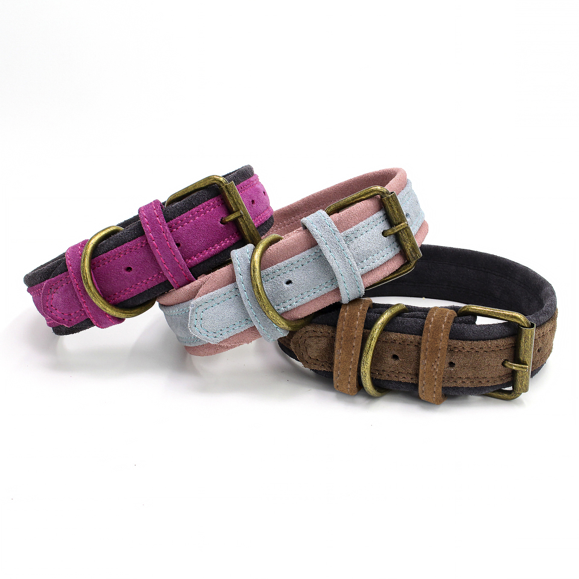 Double Layer Contrast Color Dull Polish Cowhide Dog Neck Ring Hide Substance Pet Collar In Large Dog Traction Hot Selling