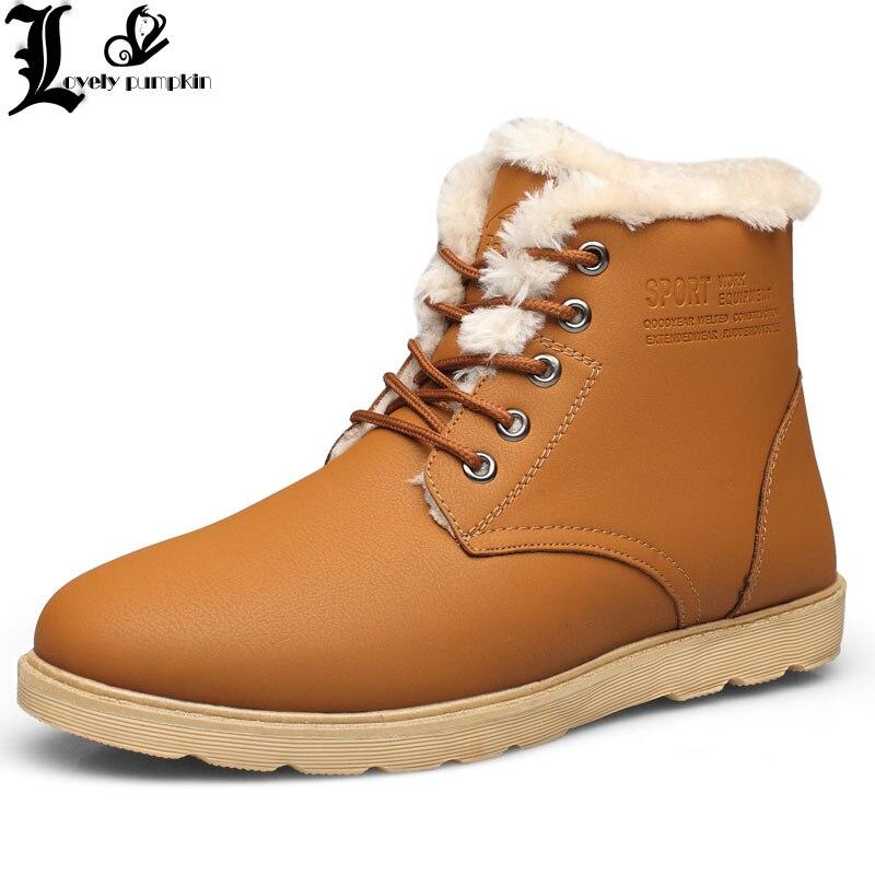 Super Warm Men's Winter Pu Leather Ankle Boots Men Autumn Waterproof Snow Boots Leisure Martin Autumn Boots Mens Shoes  LP052