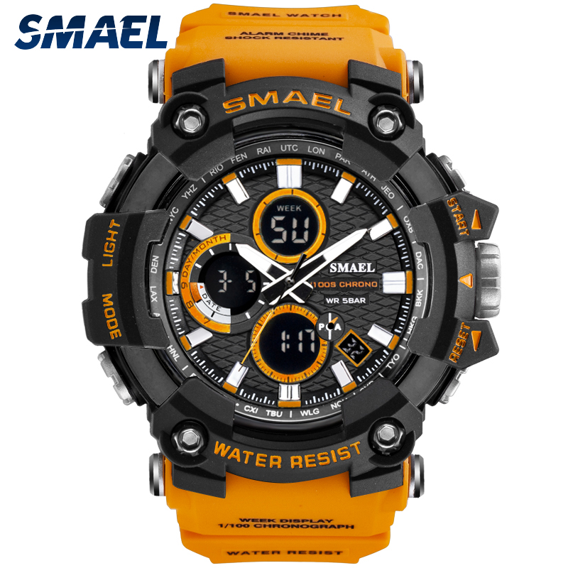 SMAEL Sport Watch Men Dual Time Waterproof 5Bar Male Clock Classic Shock Resisitant Chronograph Military Watches For Men 1802D