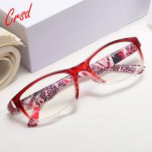 Moda feminina primavera dobradiça flor impressão resina óculos de leitura senhora óculos protetor presbiopia + 1.0 1.5 2.0 2.5 + 4.0