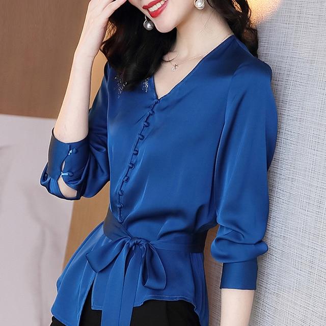 Autumn Long Sleeve Chiffon Blouse Shirt Blouse Women Blusas Mujer De Moda 2021 V-Neck Office Lady Blouse Tops Women Blusa D713 3