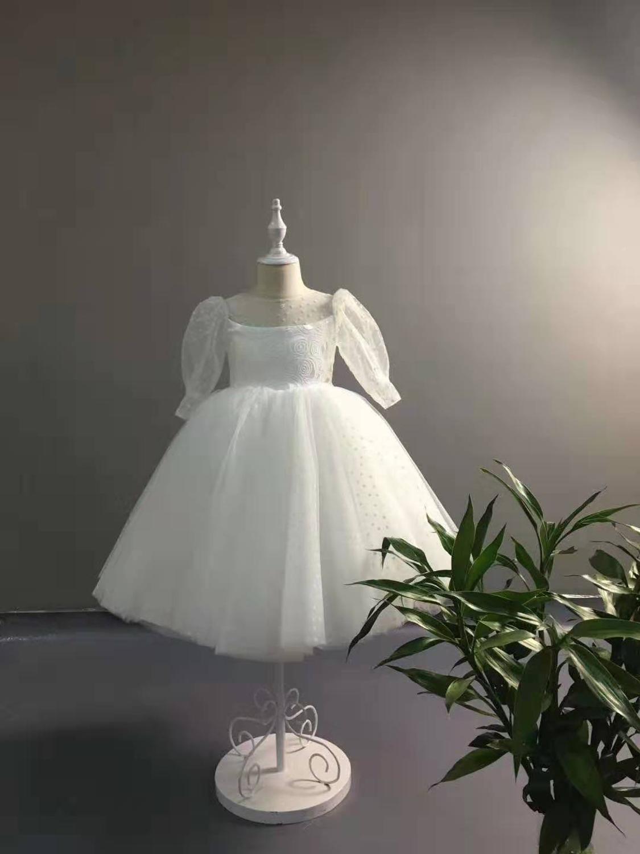White Flower Girls Dresses For Wedding Tulle Long Sleeve Ball Gown Girls First Communion Dresses Princess Party Dress