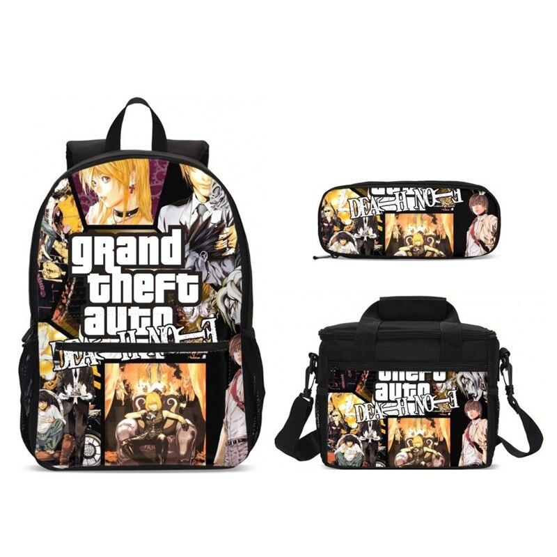 2019 nouveau sac d'école de Note de mort avec des sacs de nourriture garçons sac à dos d'école enfants enfants Cartoon Bookbag enfant Infantil Escolar Mochilas