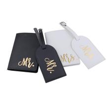 Sets Luggage-Tag Travel-Accessories-Set Passport-Cover Couple MRS. PU LT35CH12 Id-Tag