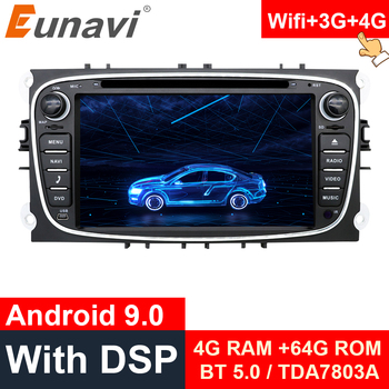 цена на Eunavi 2 din Android 9.0 Car DVD Multimedia Player for FORD Focus Mondeo S-MAX C-MAX Galaxy 4G 64G radio 2din GPS Navi stereo pc