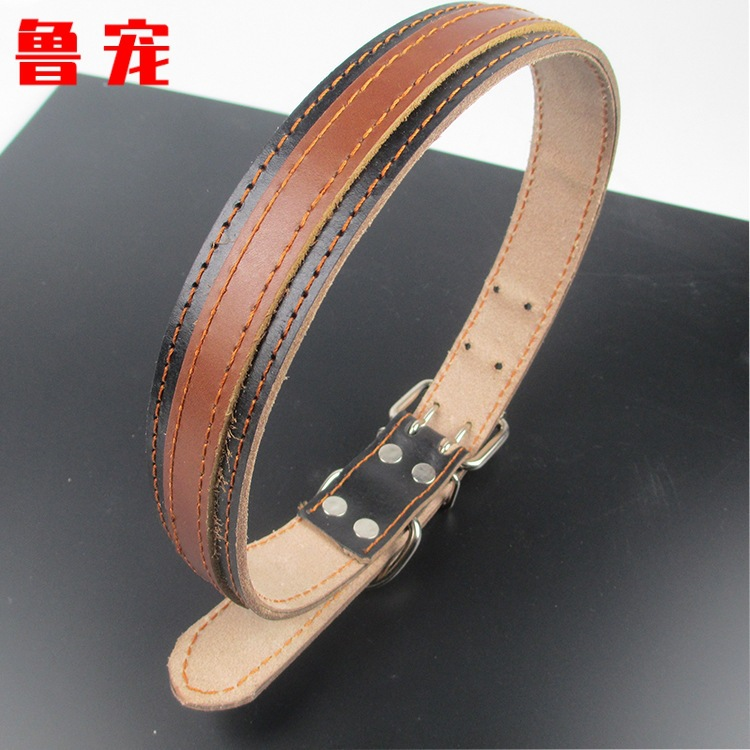Mixed Colors Cow Leather Collar Pet Cow Leather Collar Double Layer Suture Cowhide Dog Neck Ring