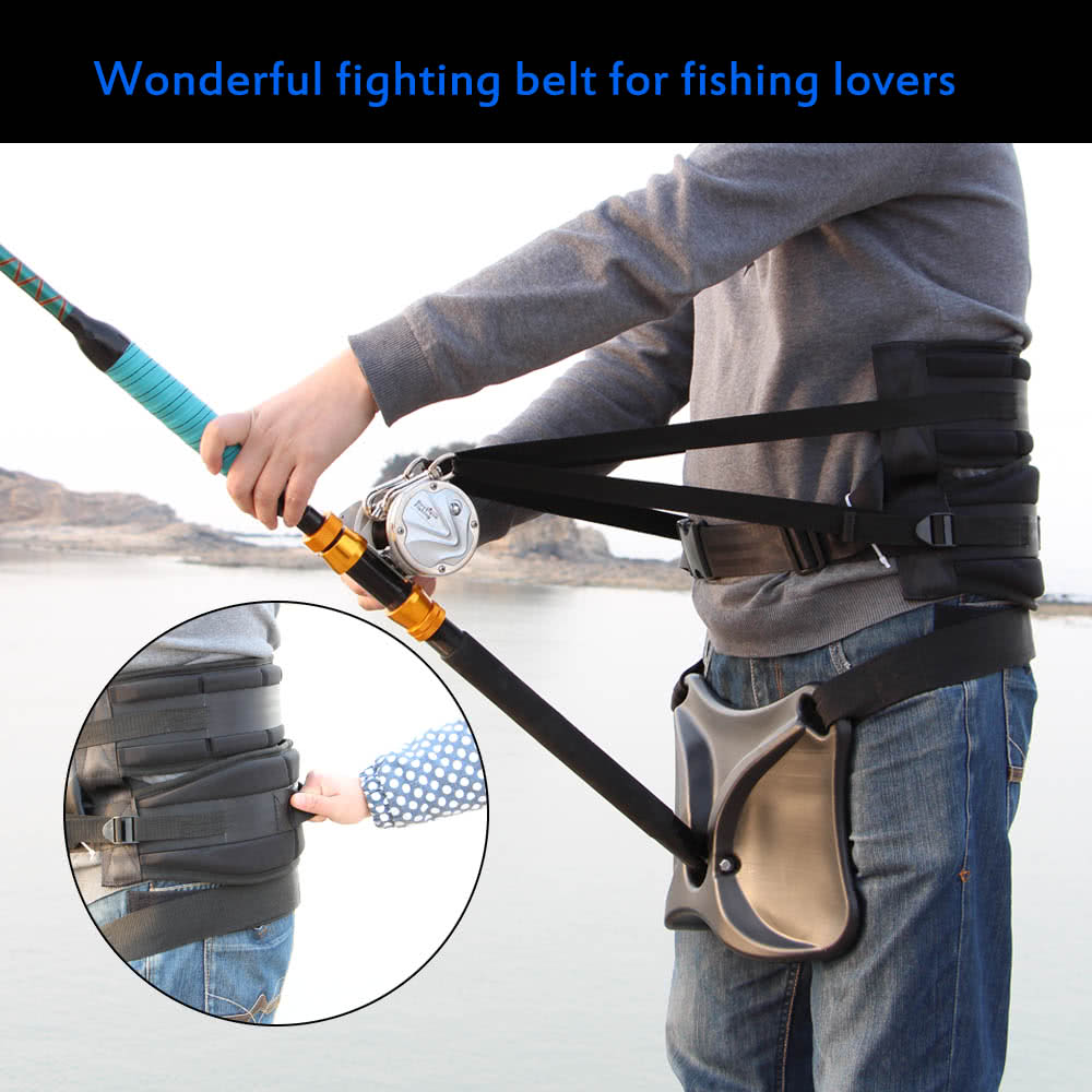 Big Fish Sea Fishing Fighting Belt Rod Holder Tackles Adjustable Belt Waist Rod Holder With Fishing Harness