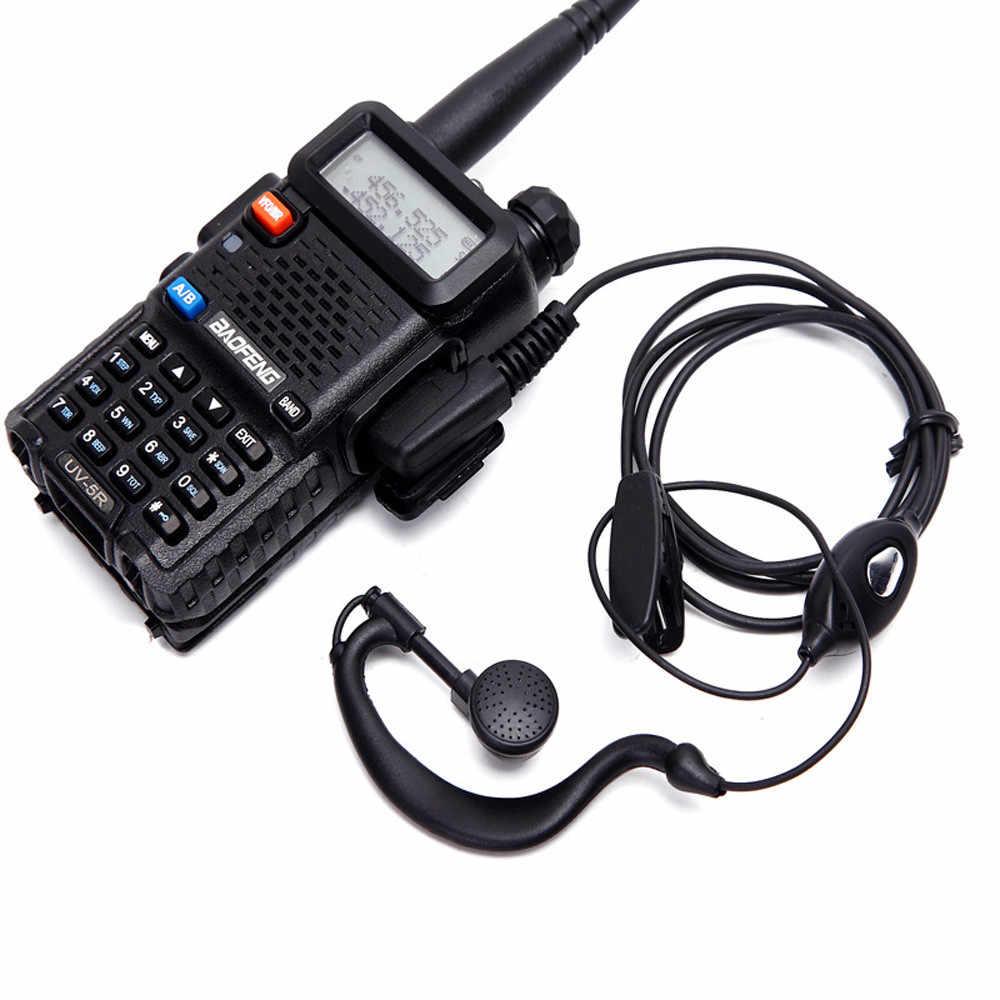 Dua Cara Radio Ham Menggantung Telinga Mikrofon Headset Walkie Talkie Earpiece Earphone Headset untuk BaoFeng UV5R Seri Walkie Talkie