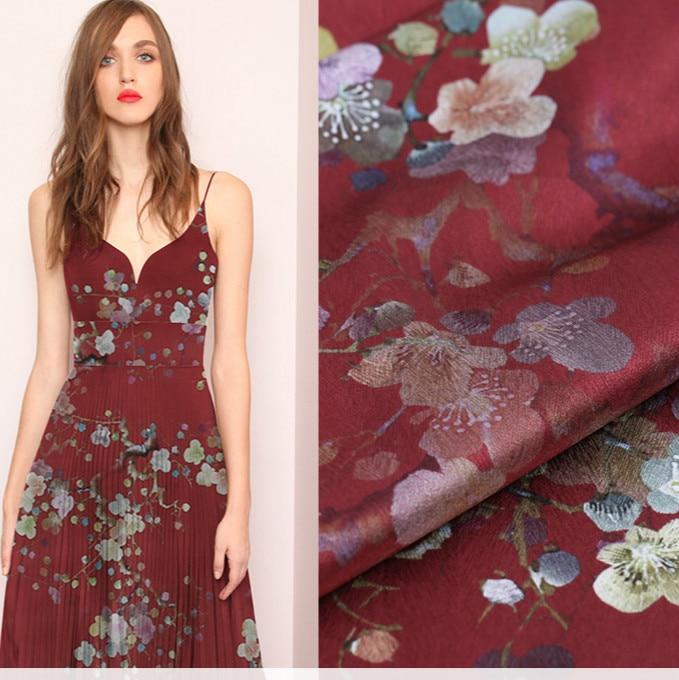108cm imprimé stretch satin soie tissu riz 19mm doux soie tissu pour robe drapé robe imprimé tissu en gros soie tissu