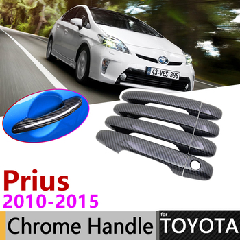 Cubierta negra de la manija de la puerta de fibra de carbono para Toyota Prius XW30 30 zvw30 zvw35 2010 ~ 2015 accesorios del coche conjunto de pegatinas cromado