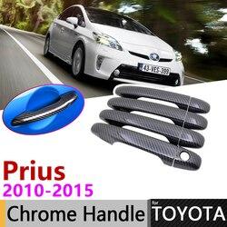 Zwart Koolstofvezel Deurklink Cover voor Toyota Prius XW30 30 zvw30 zvw35 2010 ~ 2015 Auto Accessoires Stickers Trim set Chrome
