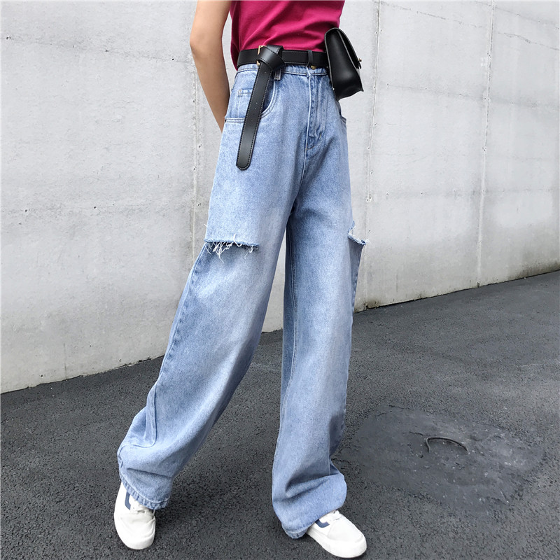 New Woman Jeans Ripped High Waist Summer 2020 Hole Wide Leg Denim Pants Womens Fashion Casual Trousers Blue Jeans