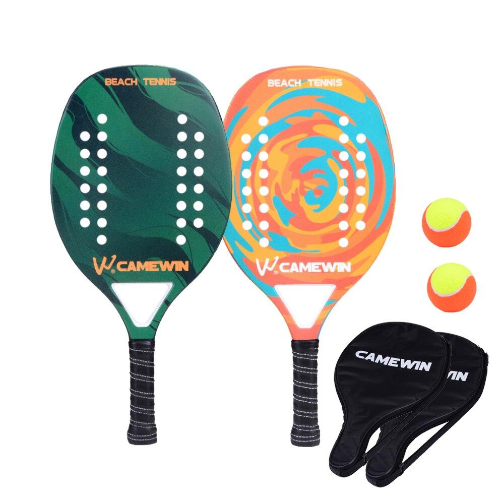 Nouvelle raquette de Tennis de plage en Fiber de carbone raquette de Tennis à palette souple avec 2 raquettes 2 sacs et 2 balles