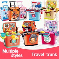 Simulation girls Birthday toys miniature kitchen Doctors toy with music light Kid Pretend play bbq Simulation trolley case toy