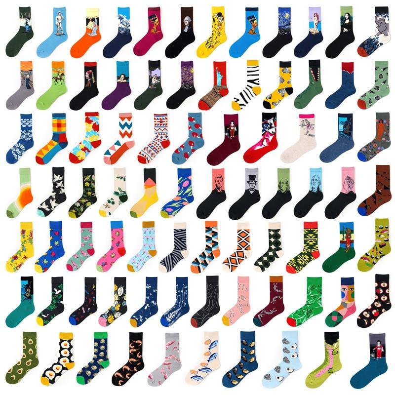 Hip Hop INS Style Men/Women Socks Combed Cotton Happy Oil Paint Print Art Funny Socks Men Casual Crew Skateboard Socks Long Tube