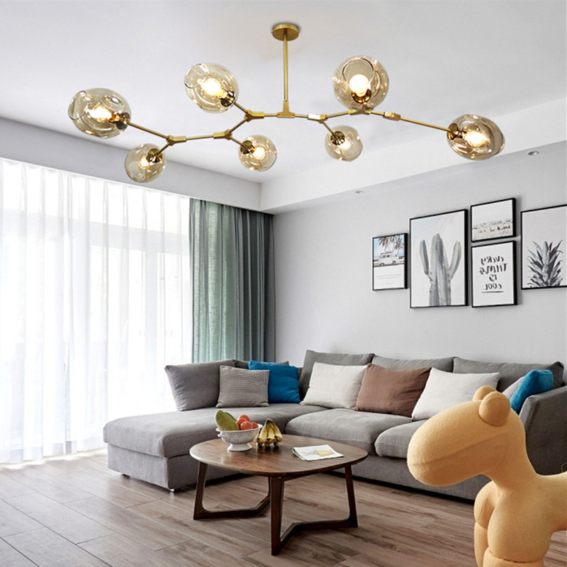 Modern Nordic chandelier living room lamp designer personality creative dining roombedroom villa molecular chandelier lighting