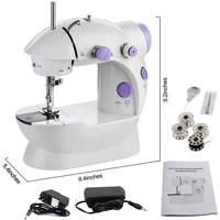 Household Electric Mini Sewing Machines Adjustment with Light Portable Handheld Sewing Machine Stitch Sew Clothes Fabrics