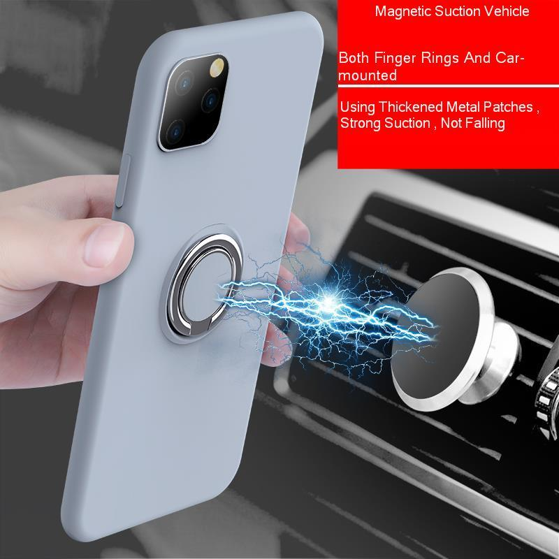 Galleria fotografica Candy Color Case For IPhone 11 Pro 2019 Liquid TPU Silicone Cover Soft Coque For IPhone 11 2019 Pro 6.5 Magnetic Car Ring Holder