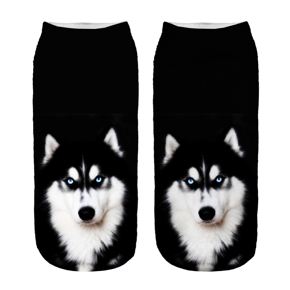 Socks 1pair New 3D Husky Printed Sock New Unisex Low Ankle Sock Soft 19cm Sock Casual Charactor Wholesale