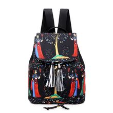 Fashion Drawstring Womens Backpack Fringe Decoration Nylon Print Leisure Travel