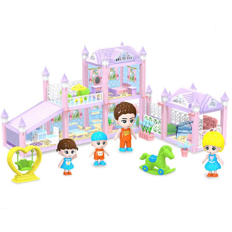 Novo DIY Acessórios Toy Com Móveis Em Miniatura Casa de Bonecas Da Família Garagem Montar Villa Casa de Boneca Brinquedos Para Meninas Presente De Aniversário
