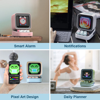 Divoom Ditoo Retro Pixel art Bluetooth Portable Speaker Alarm Clock DIY LED Screen By APP Electronic Gadget gift Home decoration 3