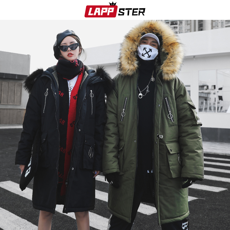 LAPPSTER Streetwear Armygreen Winter Parkas Men Wool 2019 Mens Hip Hop Thick Long Coat Windbreaker Fashion Warm Hooded Jackets