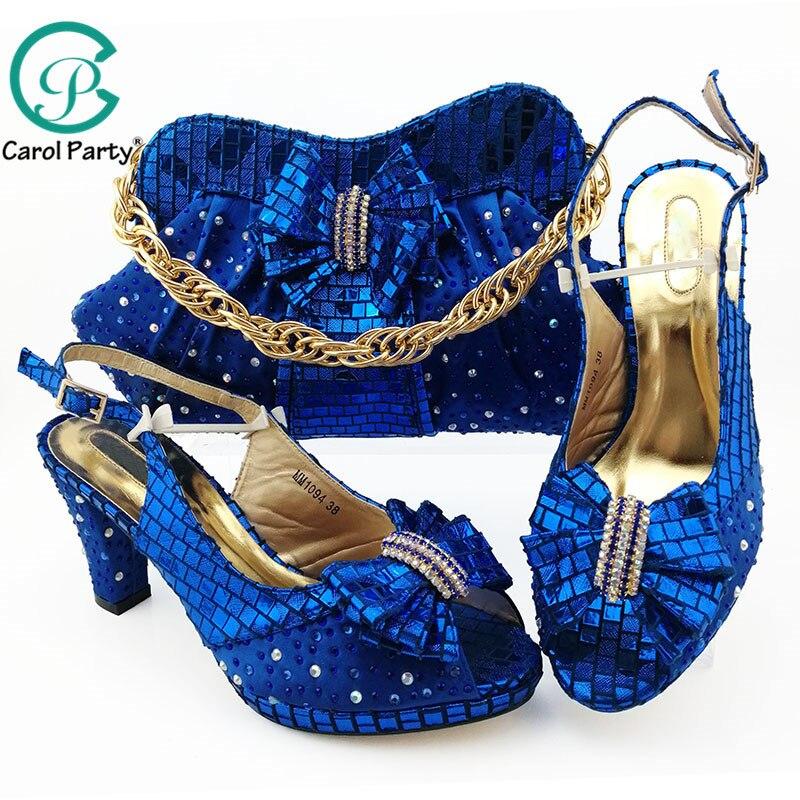 새 도착 이탈리아 디자이너 신발 및 가방 일치하는 세트 장식 라인 석 아프리카 신발 및 가방 세트 나이지리아 결혼식 신발-에서여성용 펌프부터 신발 의  그룹 1