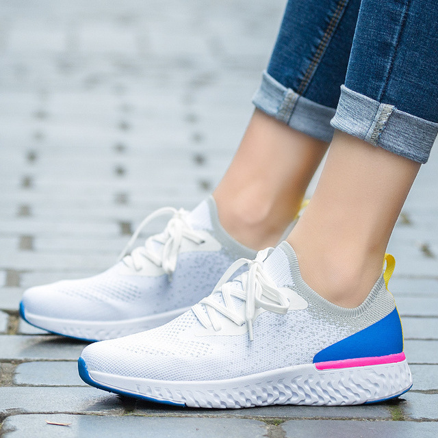 2019 New Style Large Size WOMEN'S Shoes Lightweight Sports Flying Woven Shoes Women's Fitness Running Shoes Casual Slip-on WOMEN 2