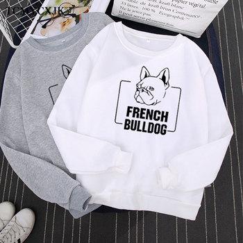 New Autumn Winter Bulldog Printed Sweatshirt Women Loose Plus Velvet Harajuku Long-sleeved Round Neck Hoodies Korean Style