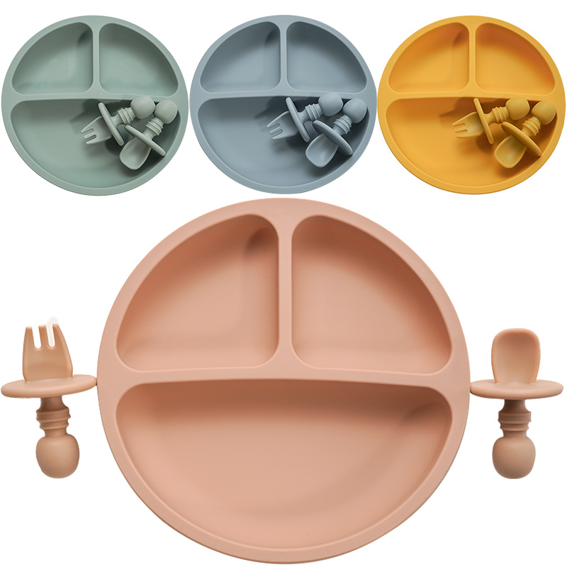 fashion-solid-silicon-plate-set-for-baby-kids-training-feeding-dinnerware-baby-learning-plate-set-with-fork-spoon-bpa-free