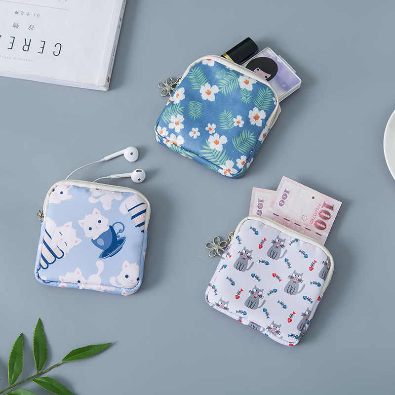 BalleenShiny Tampon Storage Bag Cosmetic Earphone Earbud Organizer Mini Purse Coin Key Holder Women Travel Napkin Zipper Bags