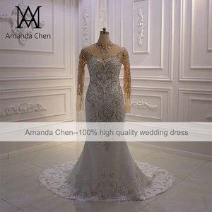 Image 5 - Vestido boda High Neck Langarm Kristall Meerjungfrau Hochzeit Kleid Lange Ärmel