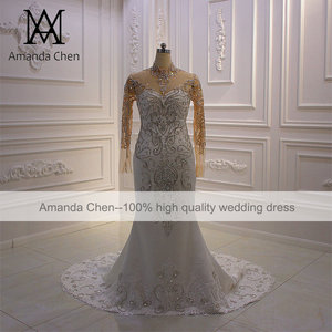 Image 5 - vestido boda High Neck Long Sleeve Crystal Mermaid Wedding Dress Long Sleeves
