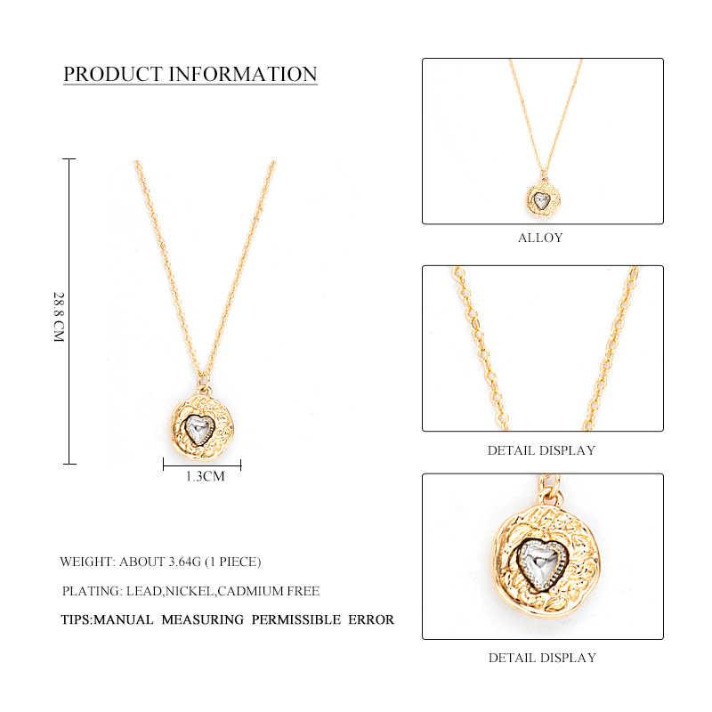 Sauvage & gratuit nouveau Vintage mélange couleur alliage rond pendentif collier pour les femmes romantique argent coeur collier ras du cou collier bijoux