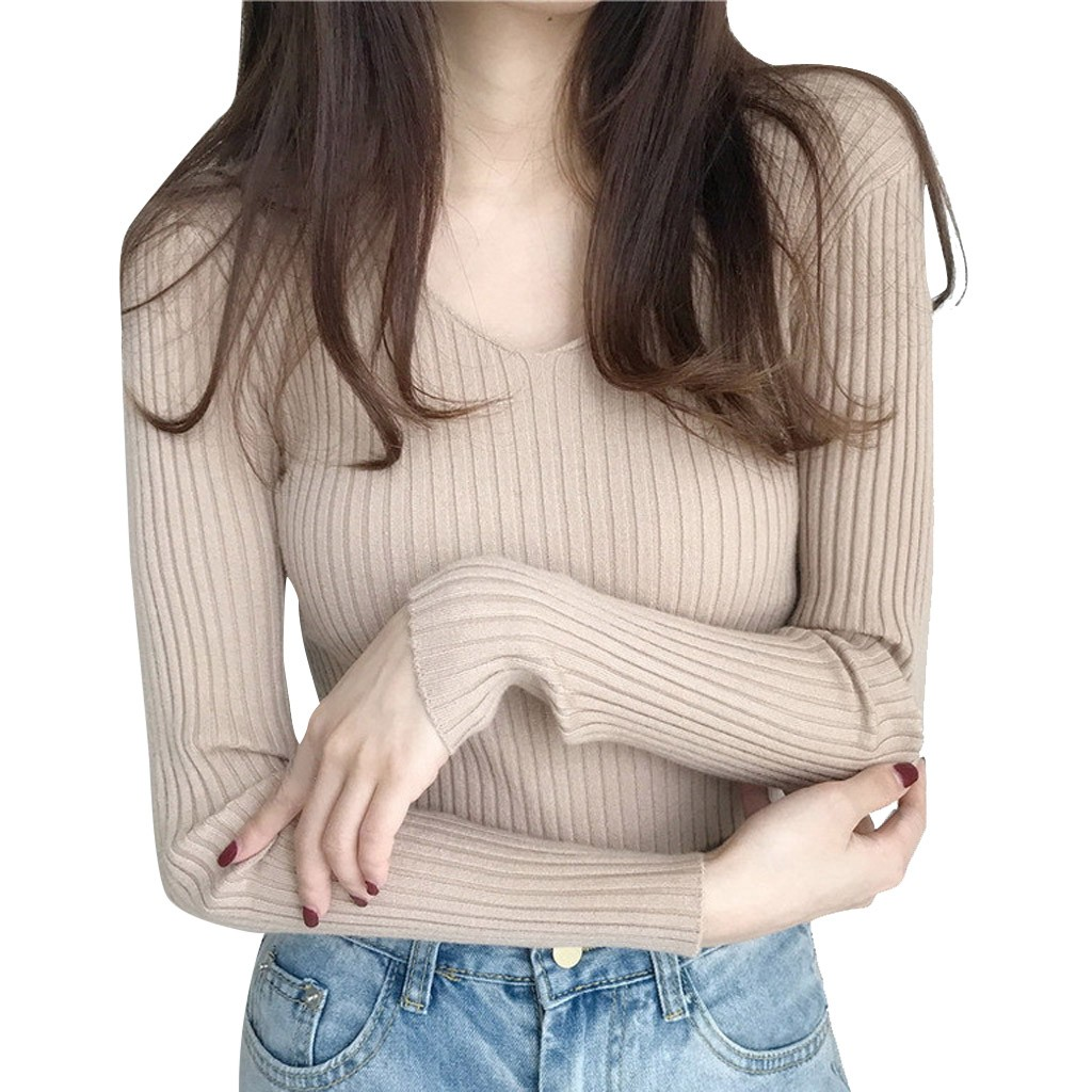 Women Casual Winter Retro V-Neck Knitting Pullover Top Long Sleeve Warm Sweater Slim Fit Solid Bottoming Sweater Pullover Jumper