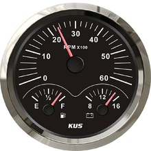Voltmeter KUS Multifunctional-Gauge Universal 12V 110mm with Red/yellow Backlight 3-In-1