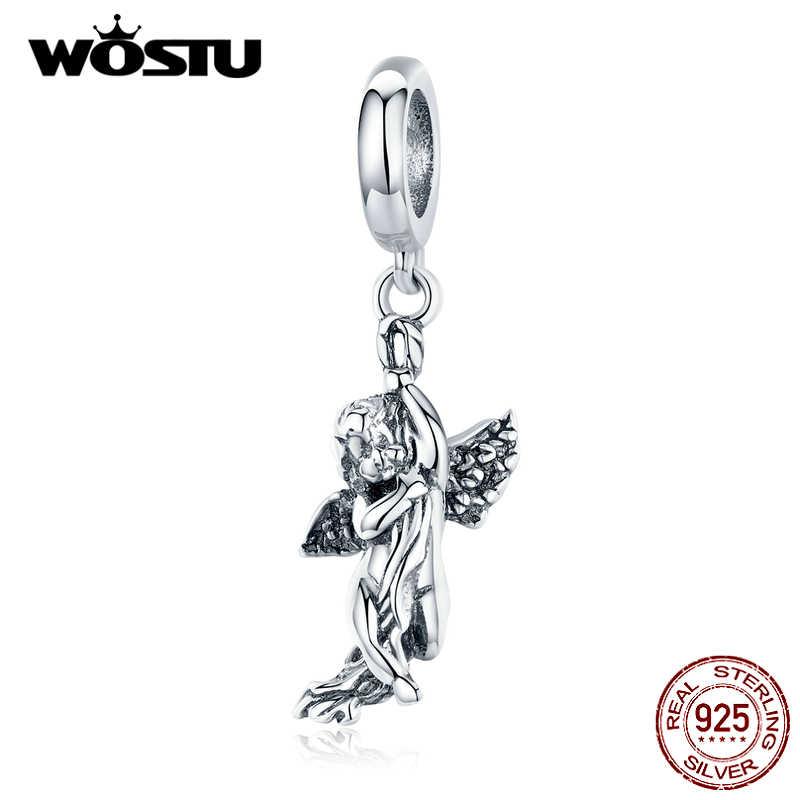 WOSTU réel 925 argent Sterling cupidon perles symbole d'amour breloques ajustement Original Bracelet collier à faire soi-même bijoux de mariage DXC1405