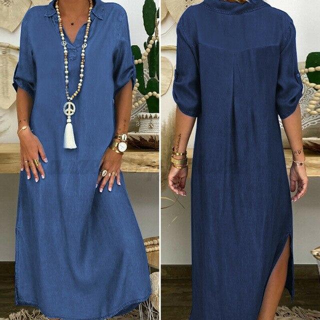 Summer Denim Dress For Women 2021 Casual Spring Blue  V-Neck Half Sleeve Maxi Dresses Plus Size Split Long Dresses Vestidos 5XL 3