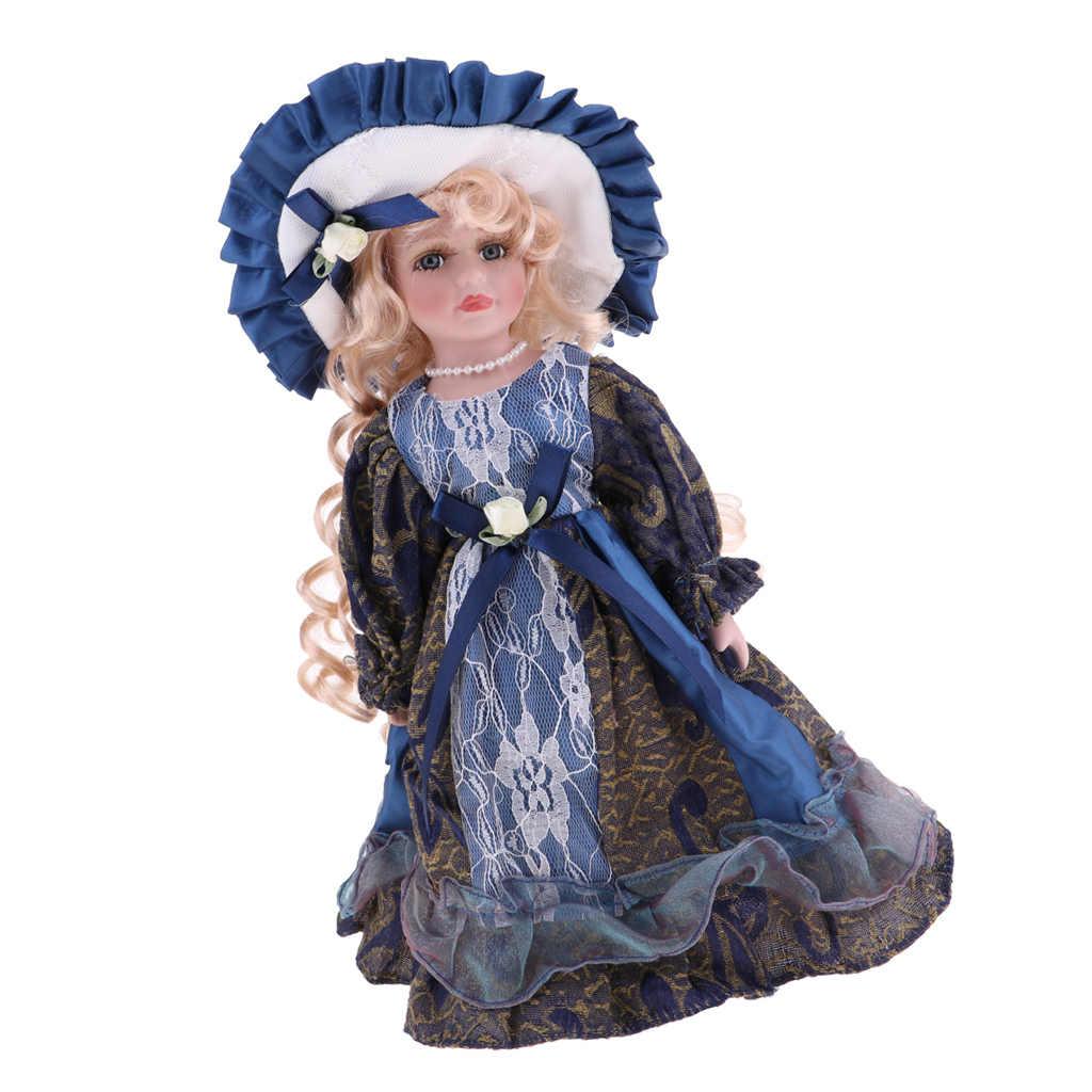 12 인치 빅토리아 도자기 인형 소녀 Collectible 도자기 인형 모델 나무 디스플레이 스탠드 액션 피규어 액세서리