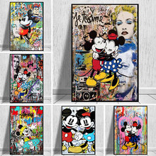 Graffiti Art Disney Mickey and Minnie Canvas Painting Street Art Poster and Print Wall Art Picture for Living Room Home Decor