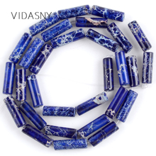 Natural Gem Stone Blue Sea Sediment Jaspers Column Beads For Jewelry Making 4*13mm Charm Spacer Diy Bracelet Necklace 15