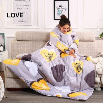 Economical Lazy Wearable Sleeping Quilt Blanket with Sleeves Thick Warm Winter Home Bedding ds99