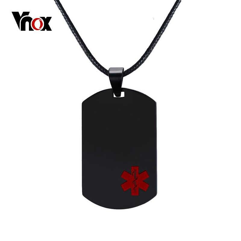 Vnox Medis Pribadi Kalung Liontin Stainless Steel Darurat ID Tag Perhiasan Gratis Mengukir Layanan
