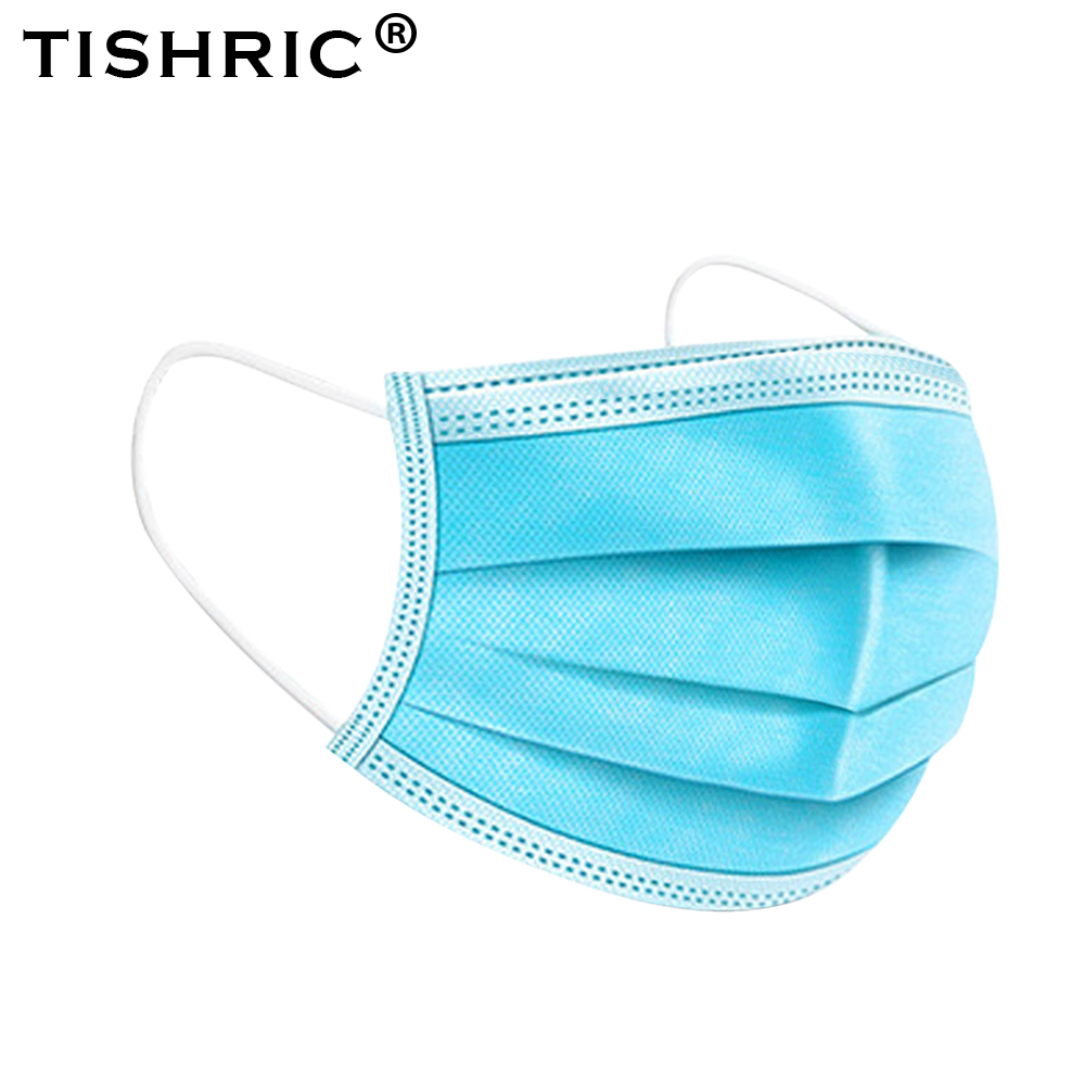 TISHRIC Disposable Mask Face Dust Mask 3 Layer Anti-dust Safe Breathable Earloop Face Mouth Protective Mask