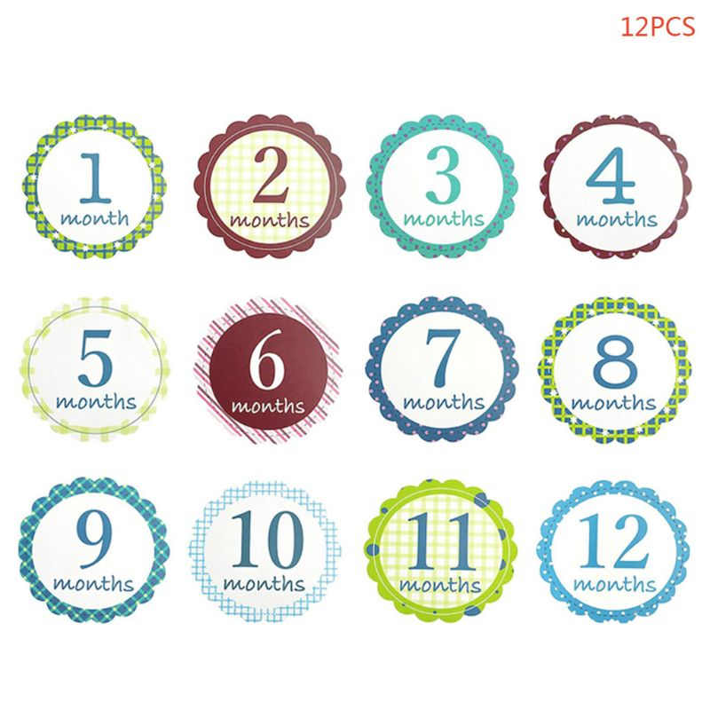 12Pcs Set Newborn Baby Monthly Stickers Pregnant Monthly Milestone Photo Sticker QX2D