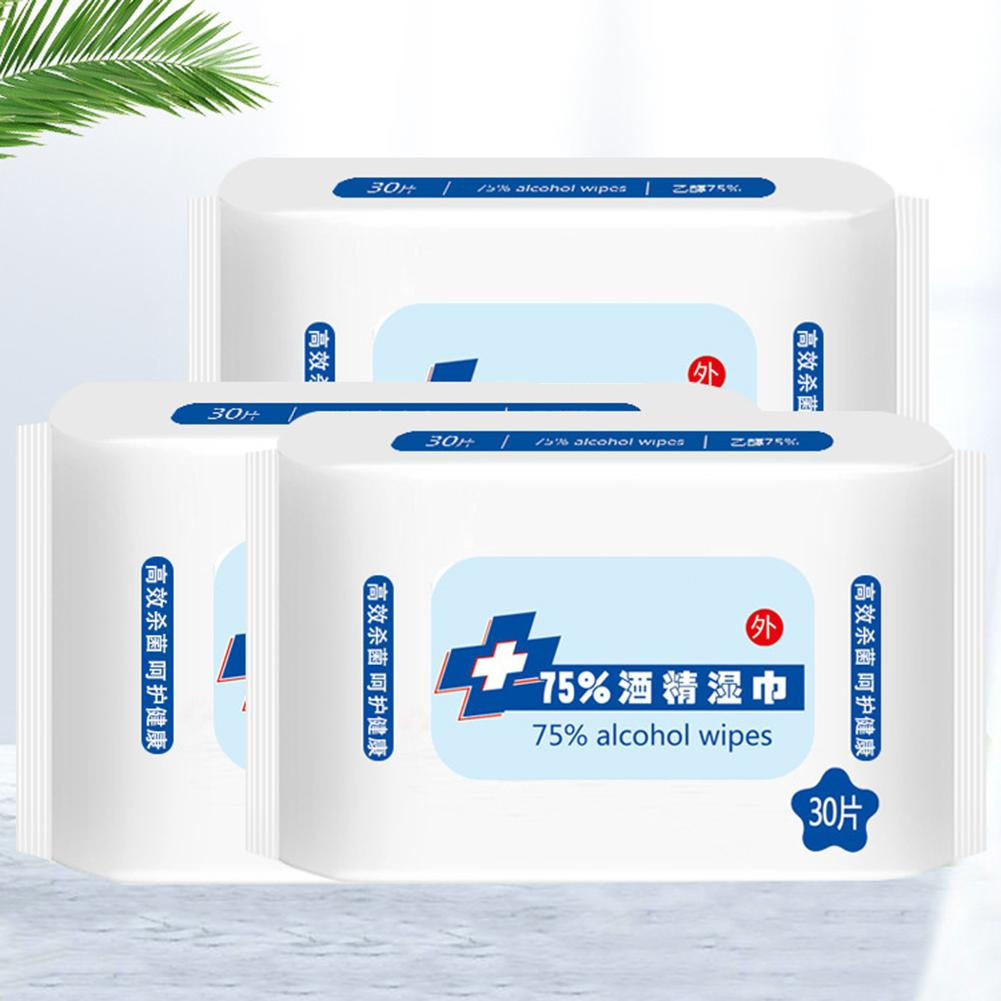 30Sheets/Bag Disposable Disinfection Antibacterial Alcohol Wet Wipe Paper Tissue носовые платочки In Stock Fast Shipments 2020