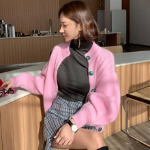 Mujeres Coreanas suéter de punto Cardigan Vintage elegante señoras de un solo pecho linterna manga Angora conejo pelo Cardigan abrigo