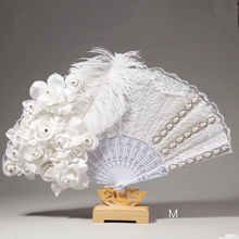 Handmade Wedding Bridal Feather Fans Lace Slik White Ladies Fan for Dance Wedding Decoration DIY Hand Fan Abanicos Para Boda